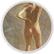 Study Of A Nude Boy Round Beach Towel