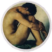Study Of A Nude Young Man Round Beach Towel