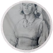 Study Of A Seated Girl. Round Beach Towel