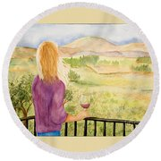 Study Of A Wine Ad Round Beach Towel