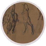 Study Of Horses Round Beach Towel