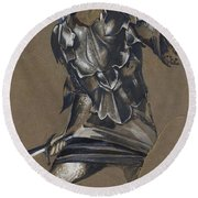 Study Of Perseus In Armour For The Finding Of Medusa Round Beach Towel