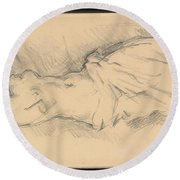 "Study Of ""venus De Milo"" Round Beach Towel"