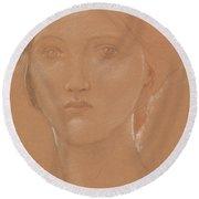 Study Of The Head Of Margaret Burne Jones Round Beach Towel