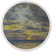 Study Of The Sky With Setting Sun Round Beach Towel