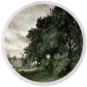 Study Of Trees Round Beach Towel by John Constable