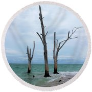 Stump Pass Triplets Round Beach Towel