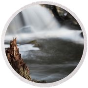 Stumped At The Secret Waterfall Round Beach Towel