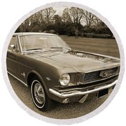 Stunning '66 Mustang In Sepia Round Beach Towel