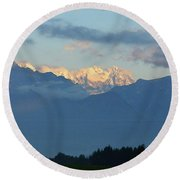 Stunning Photo Of The Countryside With Mountains  Round Beach Towel
