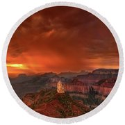Stunning Red Storm Clouds Over The North Rim Grand Canyon Arizona Round Beach Towel