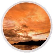 Stunning Tropical Sunset Round Beach Towel