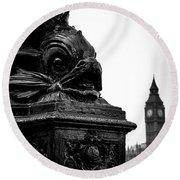 Sturgeon Lamp Post With Big Ben London Black And White Round Beach Towel