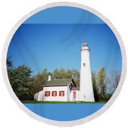 Sturgeon Point Lighthouse, Michigan - Horizontal Round Beach Towel