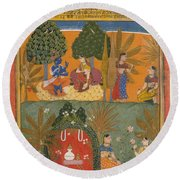 Style Of Manohar    Krishna And Radha With Their Confidantes Page From A Dispersed Gita Govinda Round Beach Towel