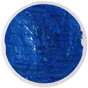 Subatomic Particles In Blue State Round Beach Towel