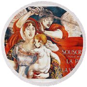 Subscribe To Hasten Peace By Victory Round Beach Towel by Paul Albert Besnard