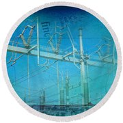 Substation Insulators Round Beach Towel