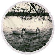 Subtle Swans  Round Beach Towel