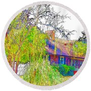 Suburban Home 3 Round Beach Towel