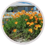 Suburban House On Orchard Avenue With Poppies Hayward California 3 Round Beach Towel