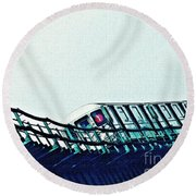 Subway In The Sky Round Beach Towel