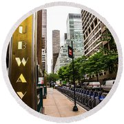 Subway Nyc Round Beach Towel