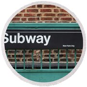 Subway Sign In New York City Round Beach Towel
