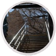 Subway Stairs Round Beach Towel