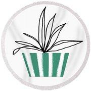 Succulent In Green Pot 3- Art By Linda Woods Round Beach Towel