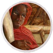 Sudanese Girl Round Beach Towel