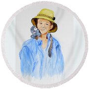 Sue And Pepita Round Beach Towel
