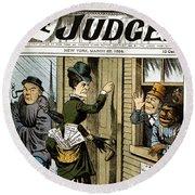 Suffrage Cartoon, 1884 Round Beach Towel