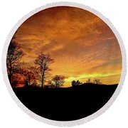Suffused With Harmony Round Beach Towel