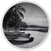 Sugar Beach Hawaiian Outrigger Canoes Kihei Maui Hawaii  Round Beach Towel