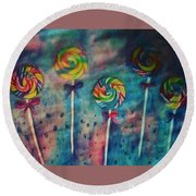 Sugar Rush  Round Beach Towel