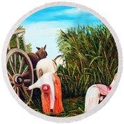 Sugarcane Worker 1 Round Beach Towel