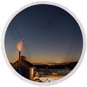 Sugaring View With Stars Round Beach Towel
