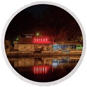 Suisan Fish Market At Night Round Beach Towel