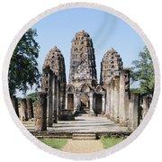 Sukhothai Khmer Sanctuary Round Beach Towel