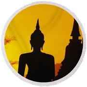 Sukhothai Temple Round Beach Towel