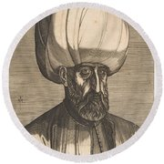 Suleyman The Magnificent , Engraved By Melchior Lorck Round Beach Towel