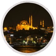 Suleymaniye At Night Round Beach Towel