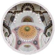 Suleymaniye Mosque Ceiling Round Beach Towel
