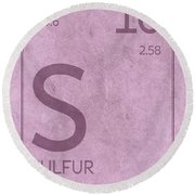 Sulfur Element Symbol Periodic Table Series 016 Round Beach Towel