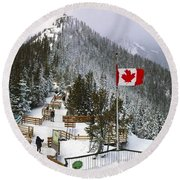 Sulphur Mountain In Banff National Park In The Canadian Rocky Mountains Round Beach Towel