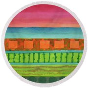 Sultry Day At The Seaside  Round Beach Towel