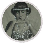 Sultry Silent Star -- Portrait Of Silent Film Star Round Beach Towel