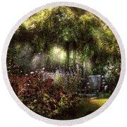 Summer - Landscape - Eve's Garden Round Beach Towel