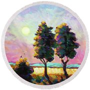 Summer Afternoon In The Fields Round Beach Towel